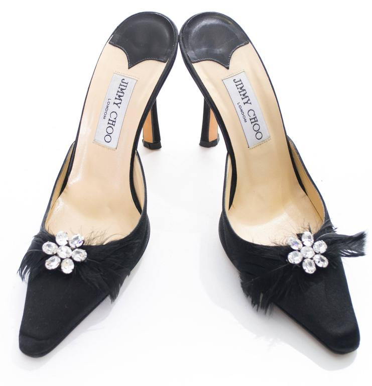 Women's Jimmy Choo Black Satin Shoes Rhinestones Feathers Heels Size 37 For Sale