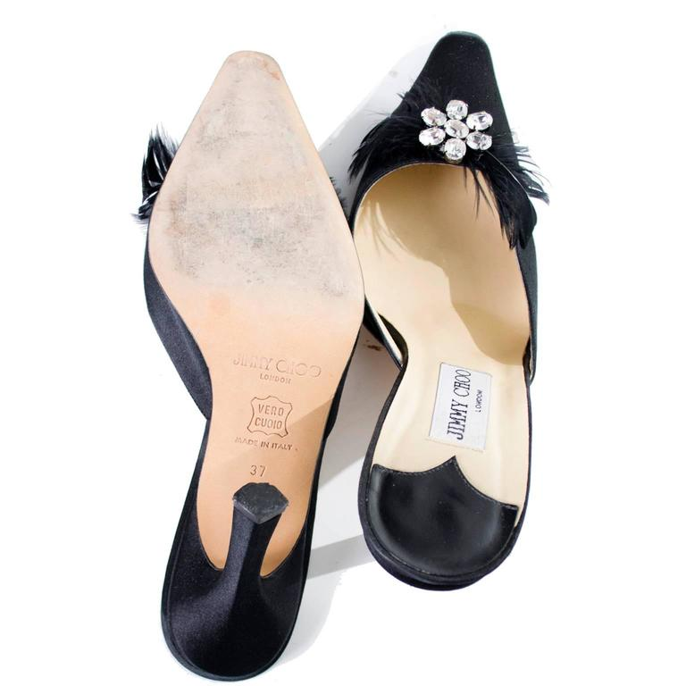 Jimmy Choo Black Satin Shoes Rhinestones Feathers Heels Size 37 For Sale 2