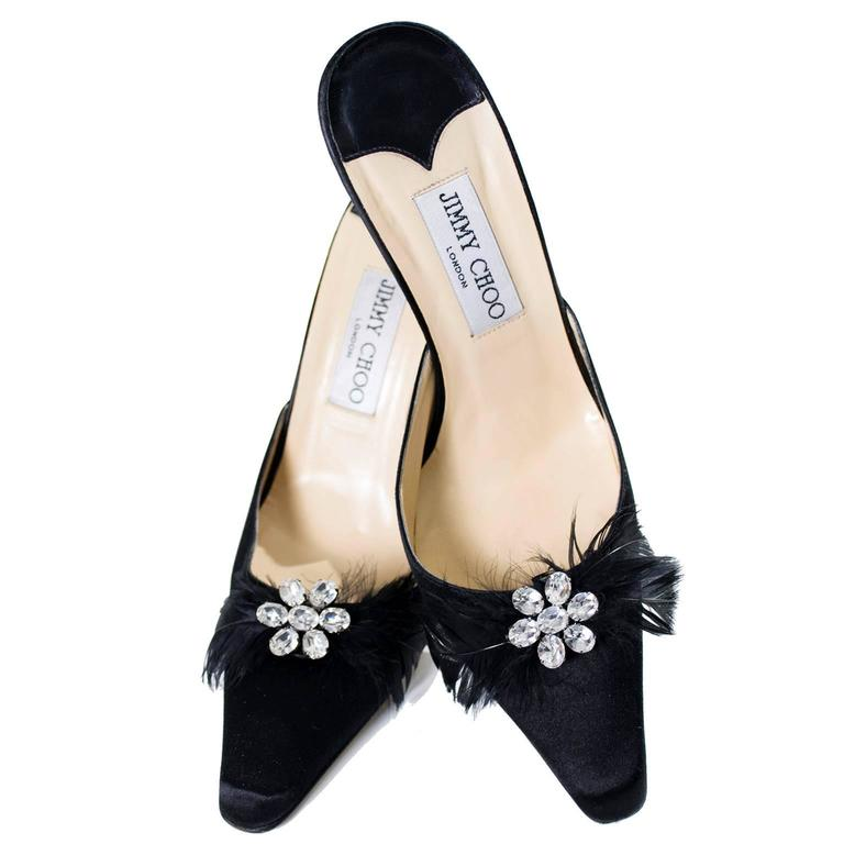 Jimmy Choo Black Satin Shoes Rhinestones Feathers Heels Size 37 In Excellent Condition For Sale In Portland, OR