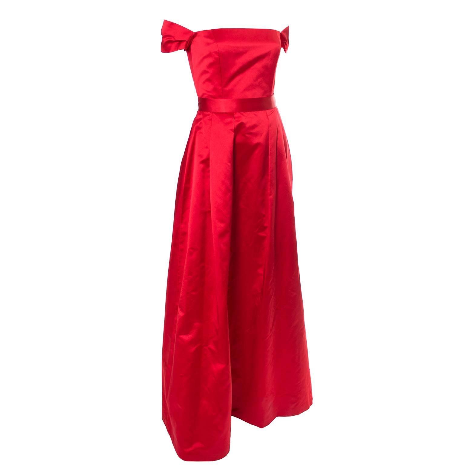 Red Silk Satin Vintage Evening Gown Dress Ensemble With Wrap Utako ...