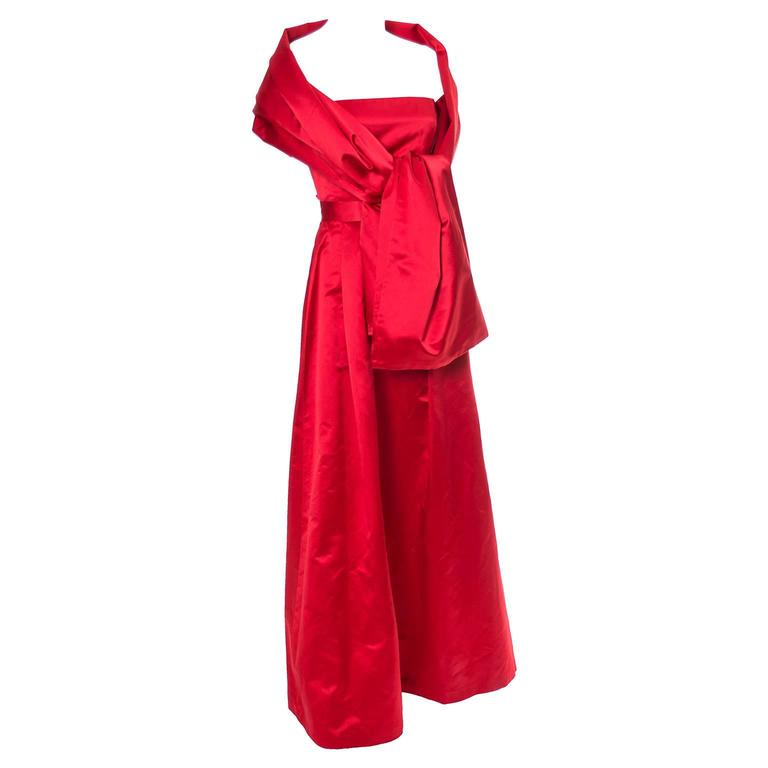 Red Silk Satin Vintage Evening Gown Dress Ensemble With