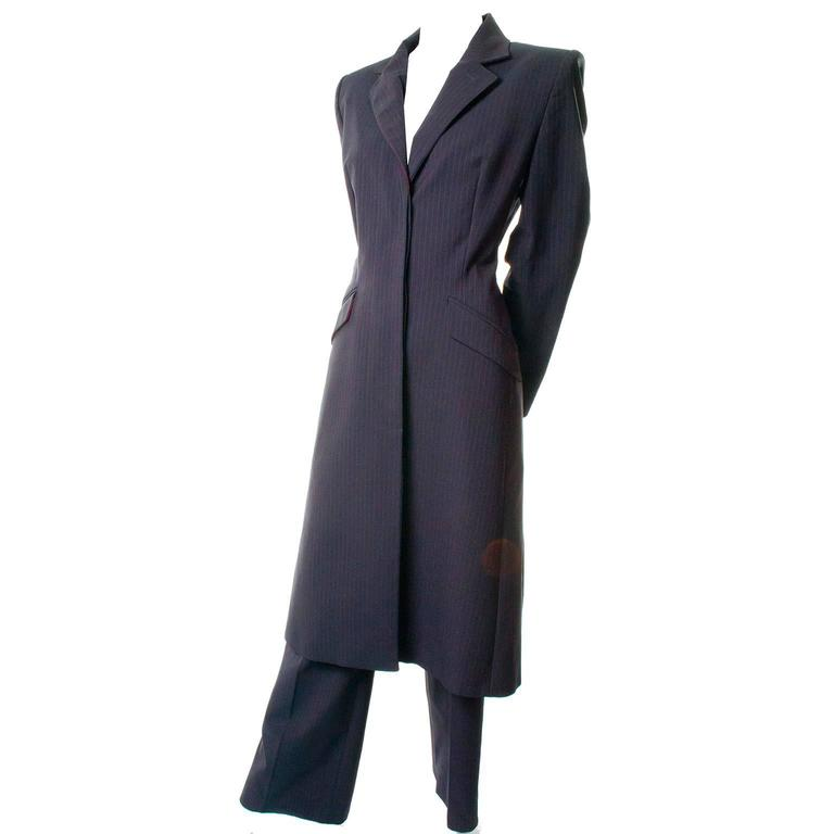 Alexander McQueen Joan of Arc Vintage Coat Pant Suit with Red Lining, 1998  For Sale