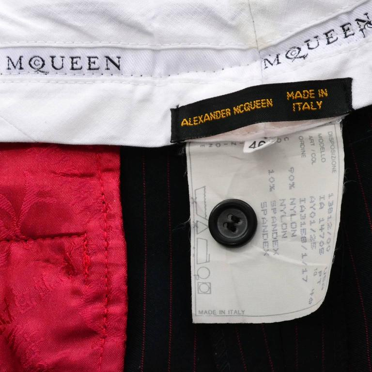 Rare 1998 Joan Alexander McQueen Vintage Coat Pant Suit Red Lining Documented 10 For Sale 1