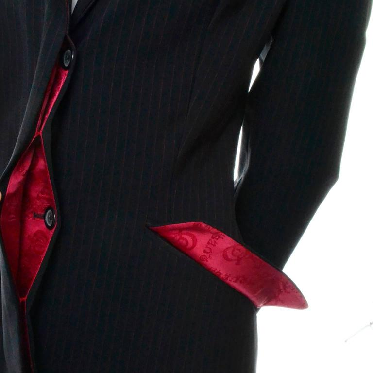 Alexander McQueen Joan of Arc Vintage Coat Pant Suit with Red Lining, 1998  In Fair Condition For Sale In Portland, OR