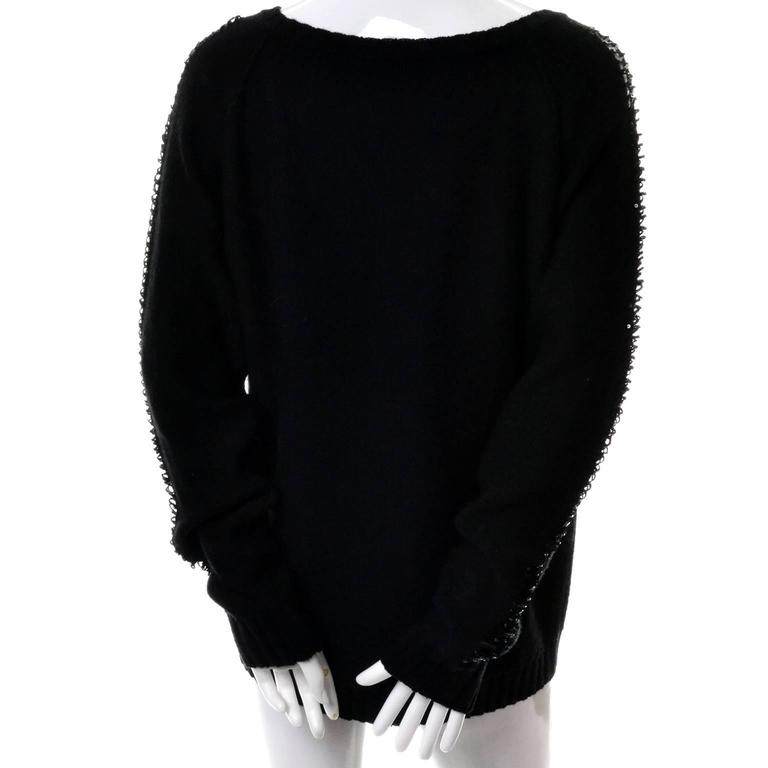 Women's Sonia Rykiel Vintage Sweater With Sequins & Peek A Boo Sleeves Made in France For Sale