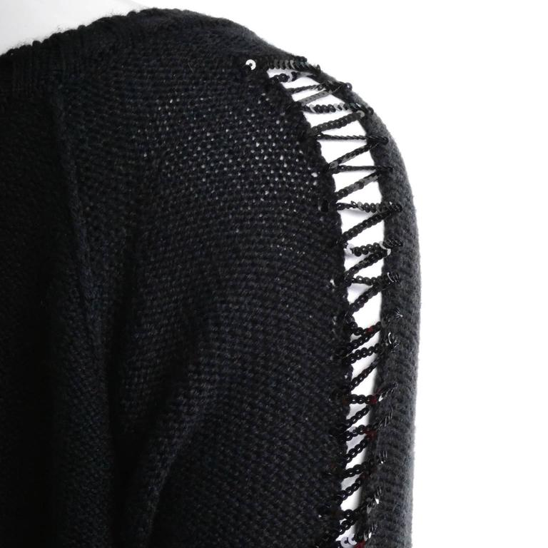 Black Sonia Rykiel Vintage Sweater With Sequins & Peek A Boo Sleeves Made in France For Sale