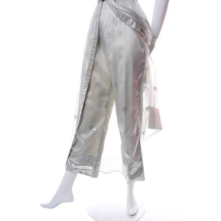 Gray 1970s Oscar de la Renta Vintage Dress in Metallic Sheer Organza Over Pants 6 For Sale