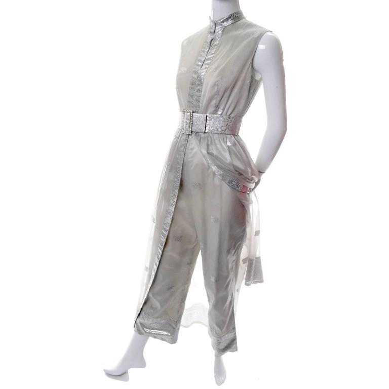 1970s Oscar de la Renta Vintage Dress in Metallic Sheer Organza Over Pants 6 In Excellent Condition For Sale In Portland, OR