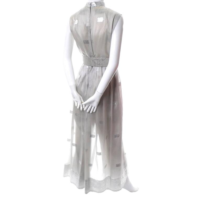 Women's 1970s Oscar de la Renta Vintage Dress in Metallic Sheer Organza Over Pants 6 For Sale