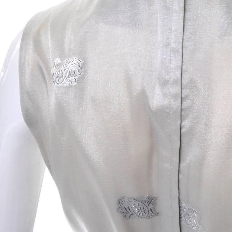 1970s Oscar de la Renta Vintage Dress in Metallic Sheer Organza Over Pants 6 For Sale 1