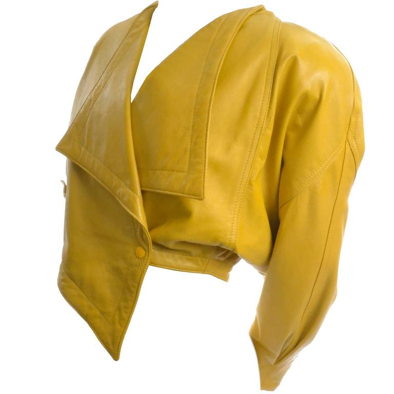 Giovinezza Moda Rocco D'Amelio Avant Garde Vintage 1980's Yellow Leather Jacket 5