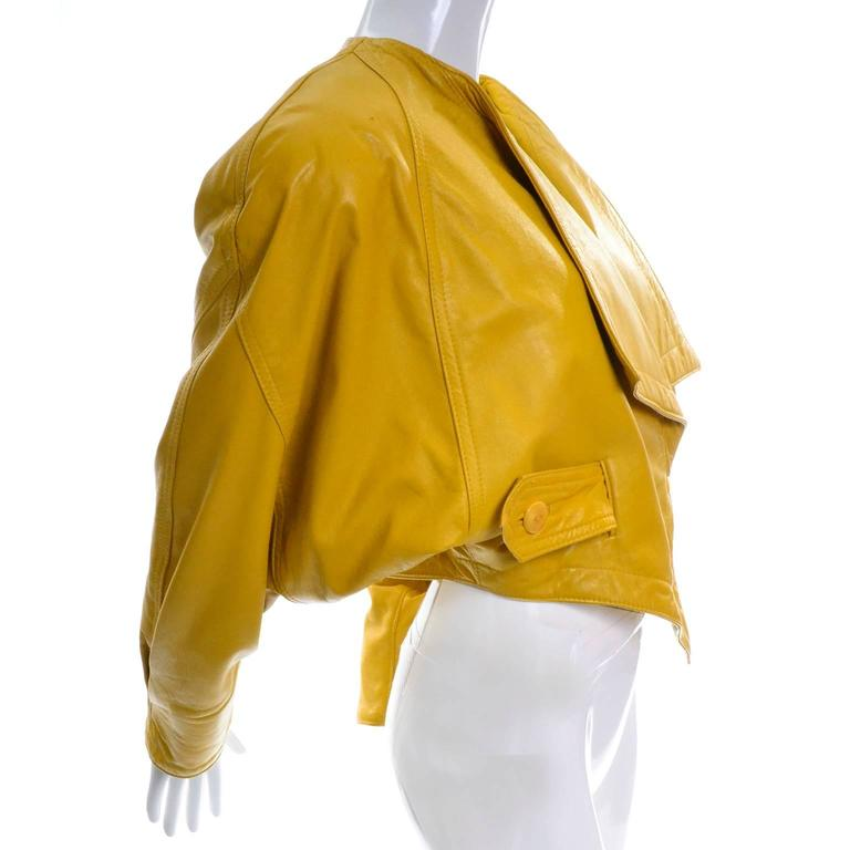 Giovinezza Moda Rocco D'Amelio Avant Garde Vintage 1980's Yellow Leather Jacket 2