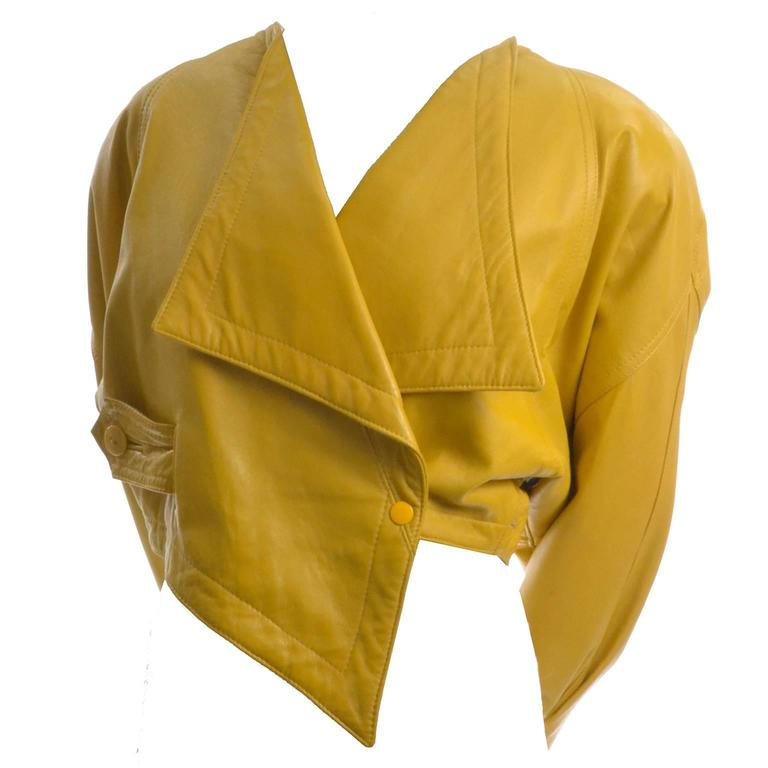 Giovinezza Moda Rocco D'Amelio Avant Garde Vintage 1980's Yellow Leather Jacket 4