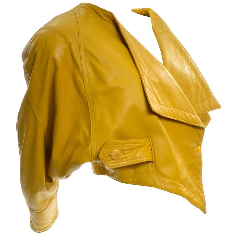 Giovinezza Moda Rocco D'Amelio Avant Garde Vintage 1980's Yellow Leather Jacket 1