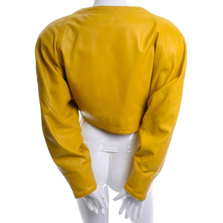 Giovinezza Moda Rocco D'Amelio Avant Garde Vintage 1980's Yellow Leather Jacket 6