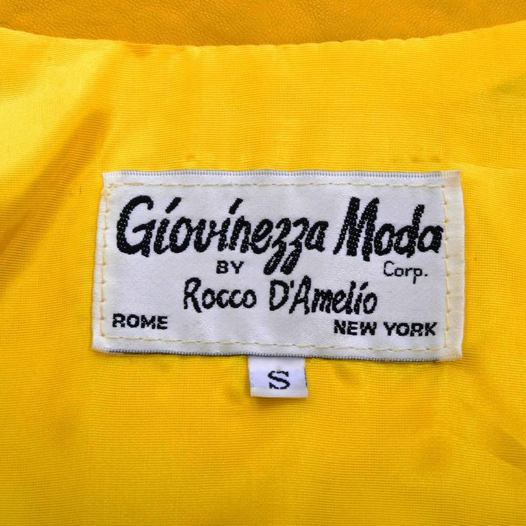 Giovinezza Moda Rocco D'Amelio Avant Garde Vintage 1980's Yellow Leather Jacket 7