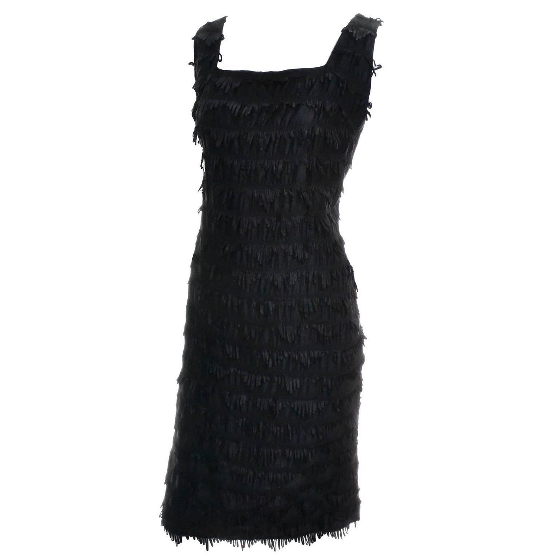 Black dress vintage - 1960s Little Black Dress Vintage Carol Robins Cocktail Dress Looped Fringe 6 For Sale At 1stdibs