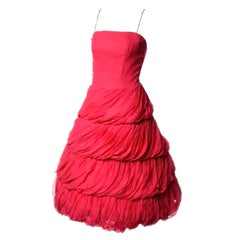 1950s Frank Usher London Vintage Dress in Fine Red Silk Chiffon Black Label