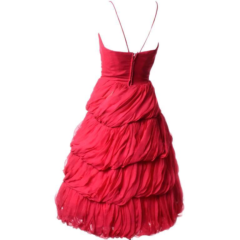 Women's 1950s Frank Usher London Vintage Dress in Fine Red Silk Chiffon Black Label For Sale