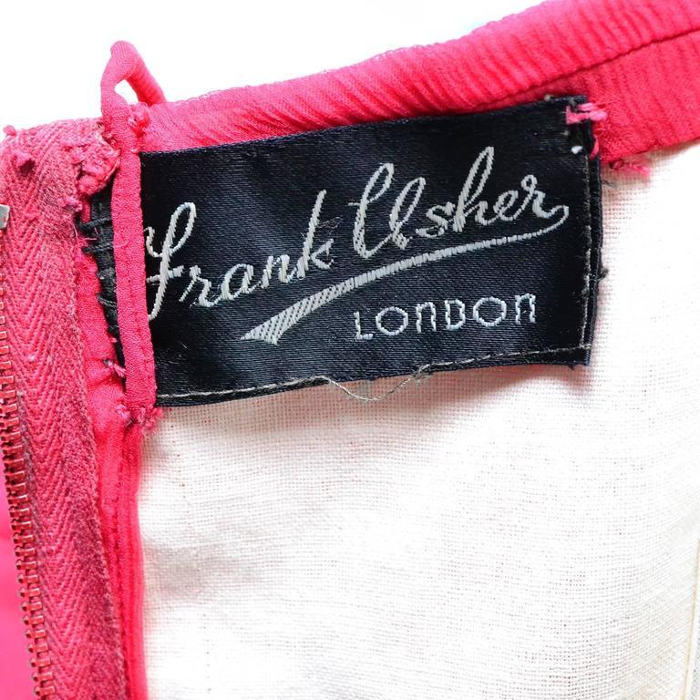 1950s Frank Usher London Vintage Dress in Fine Red Silk Chiffon Black Label For Sale 2