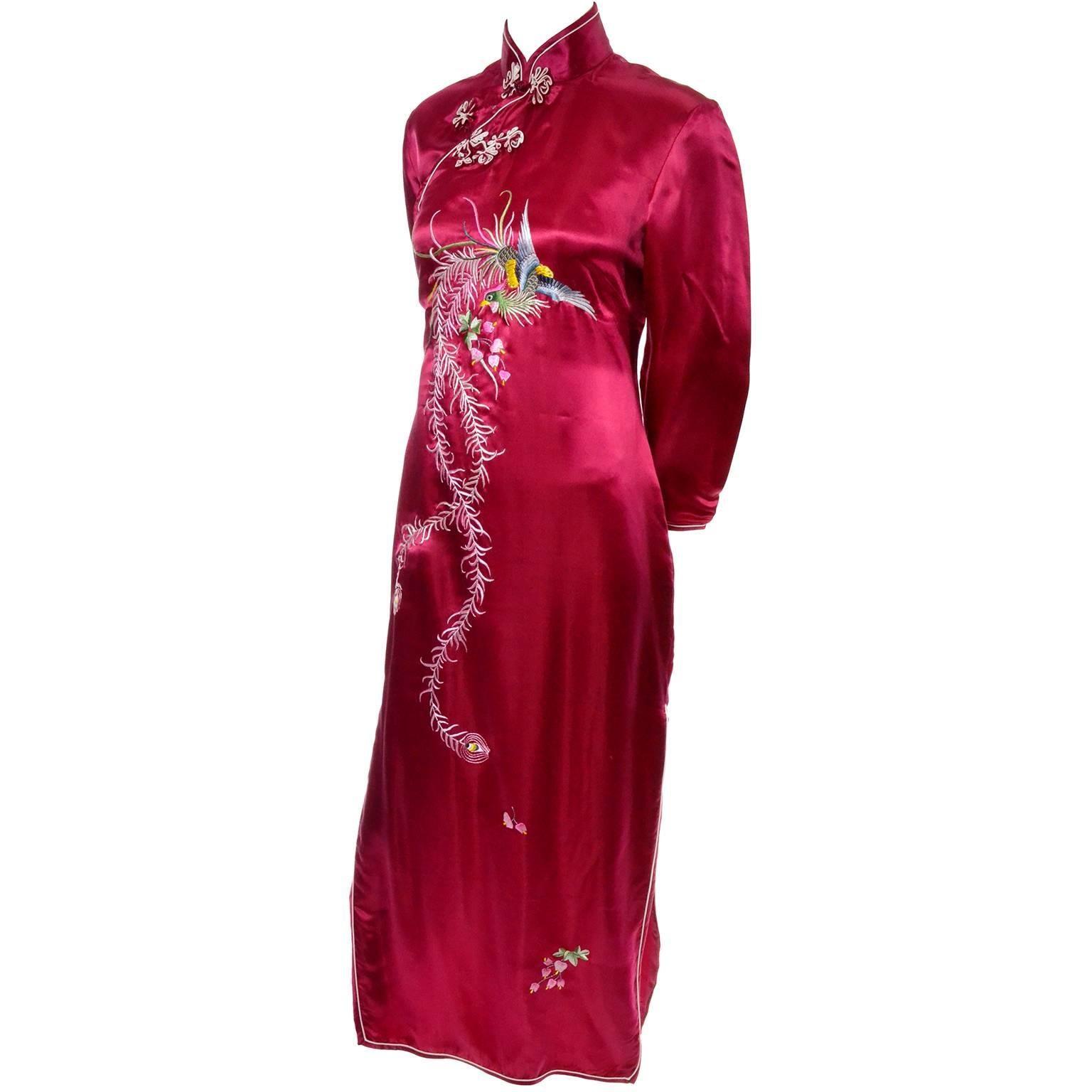 540c54625 Chinese Vintage Red Silk Cheongsam Dress Fine Embroidery Peacock Bird Motif  8/10 at 1stdibs