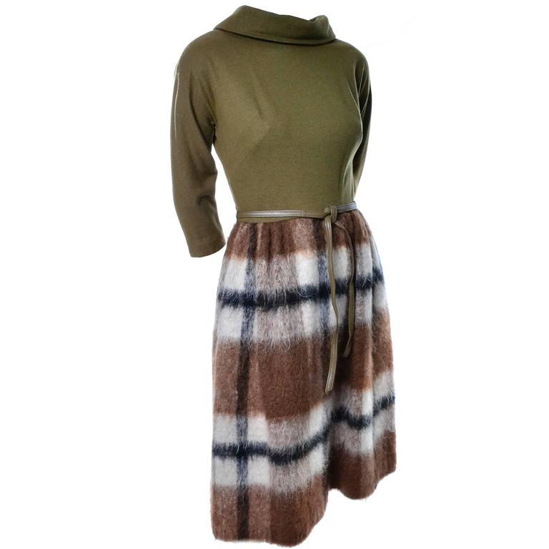 1960's Mr. Mort Vintage Dress Mohair Plaid Leather Belt Size 4