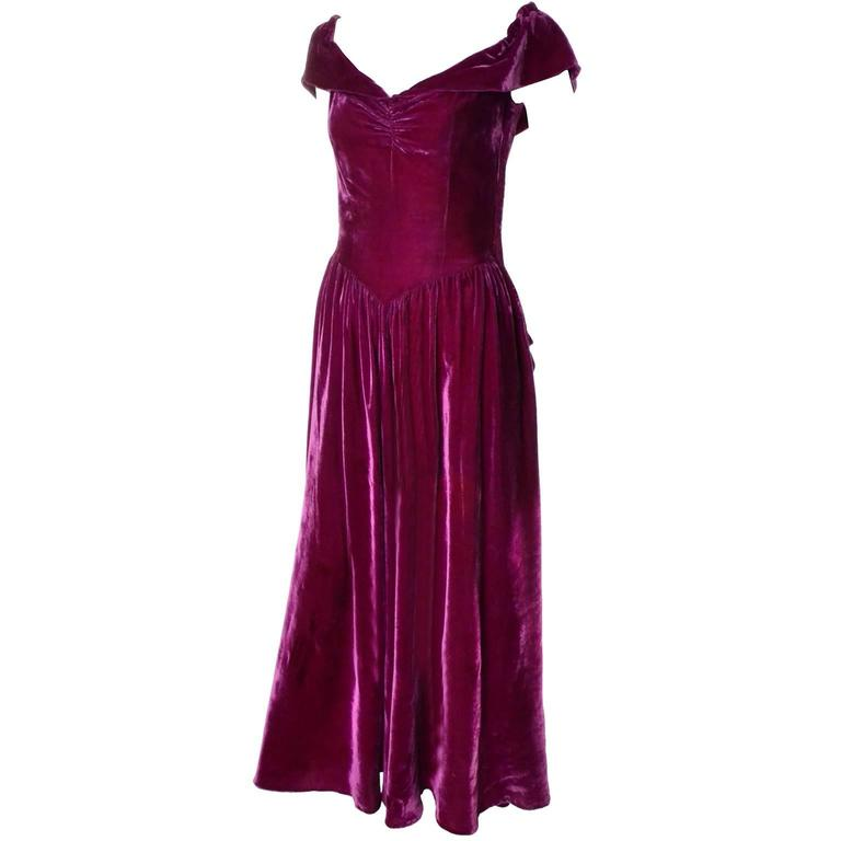 1930s Raspberry Pink Red Velvet Evening Gown Vintage Dress Bustle 6 ...
