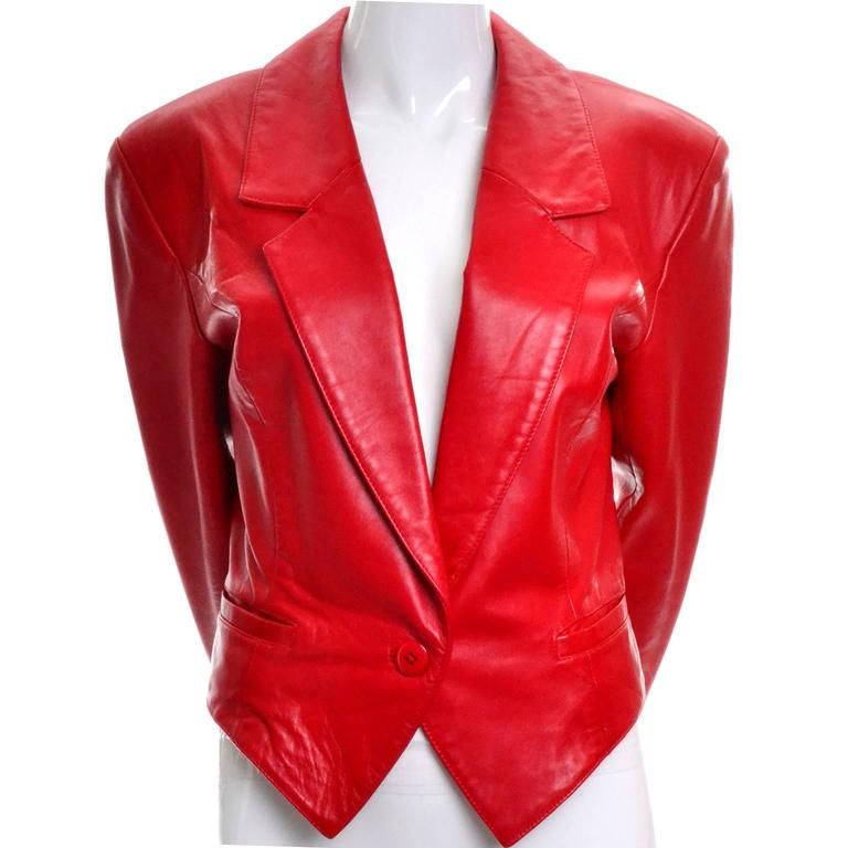 Michael Hoban North Beach Vintage Tuxedo Style Red Leather Jacket  2