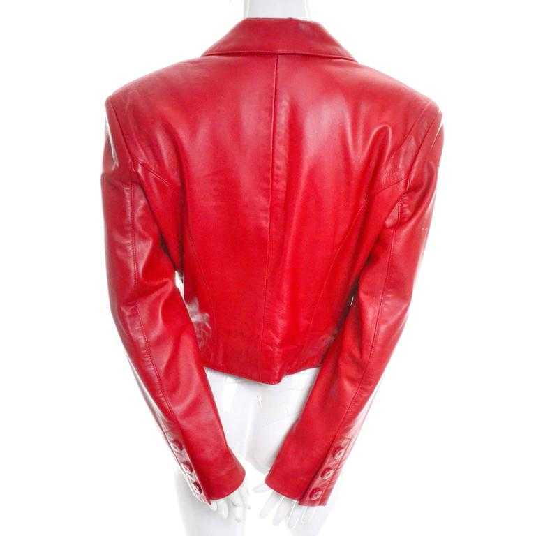 Michael Hoban North Beach Vintage Tuxedo Style Red Leather Jacket  4