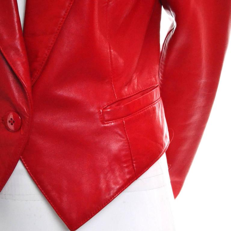 Michael Hoban North Beach Vintage Tuxedo Style Red Leather Jacket  5