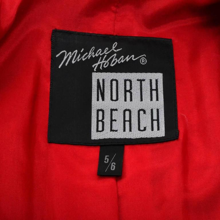 Michael Hoban North Beach Vintage Tuxedo Style Red Leather Jacket  6