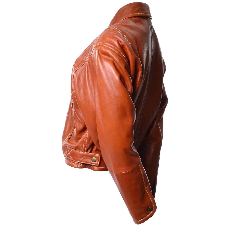 Kara George Caramel Leather Bomber Jacket Medium For Sale at 1stdibs
