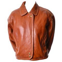 Vintage 1980s Kara George Caramel Leather Bomber Jacket Medium