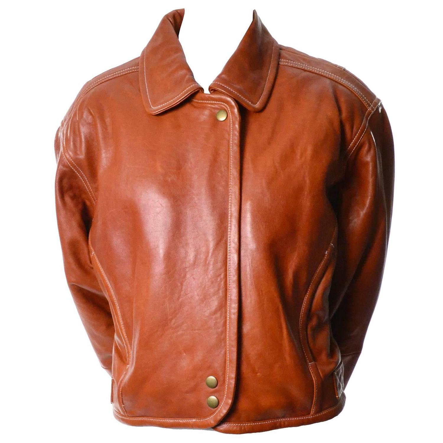 Vintage 1980s Kara George Caramel Leather Bomber Jacket Medium For ...