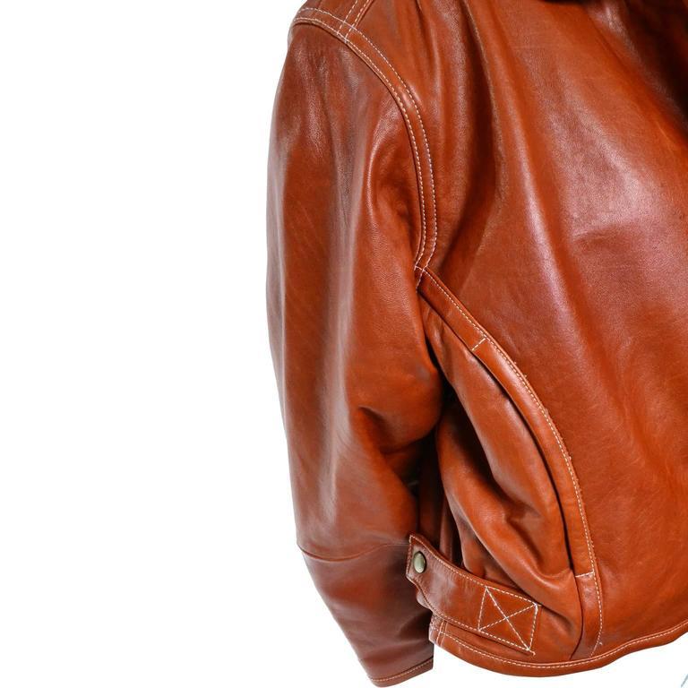 Vintage 1980s Kara George Caramel Leather Bomber Jacket Medium For ...