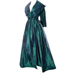 Carolyne Roehm Vintage Dress Iridescent Bergdorf Goodman Taffeta Ballgown 10