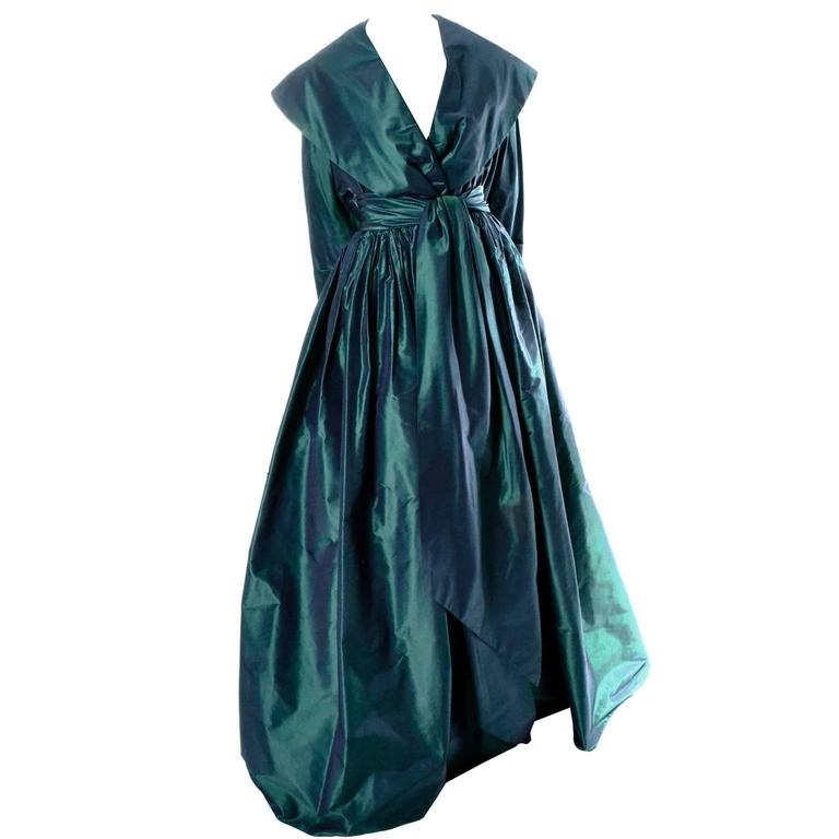Carolyne Roehm Vintage Dress Iridescent Bergdorf Goodman Taffeta Ballgown 10 For Sale 1