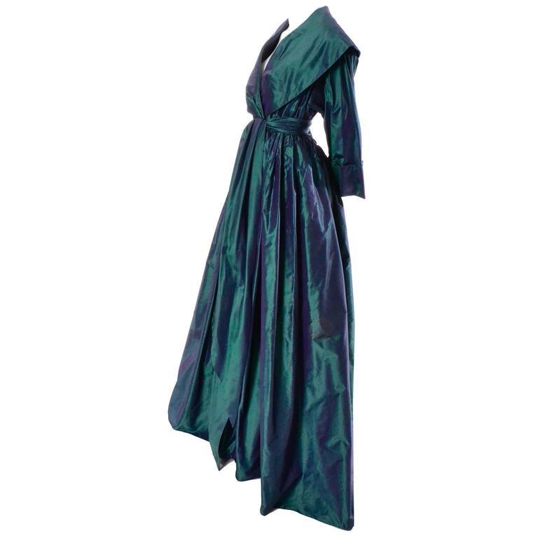 Carolyne Roehm Vintage Dress Iridescent Bergdorf Goodman Taffeta Ballgown 10 For Sale 4