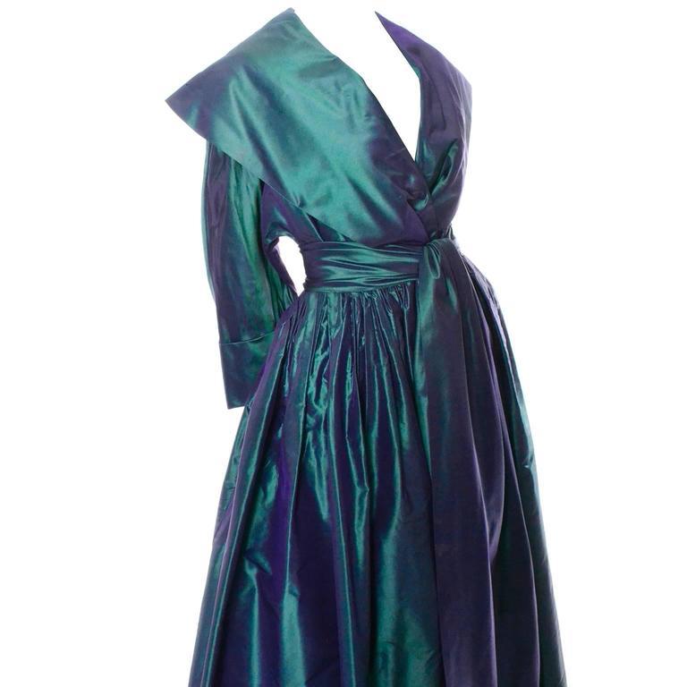 Carolyne Roehm Vintage Dress Iridescent Bergdorf Goodman Taffeta Ballgown 10 For Sale 2