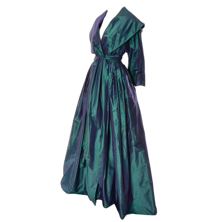 Carolyne Roehm Vintage Dress Iridescent Bergdorf Goodman Taffeta Ballgown 10 For Sale 3