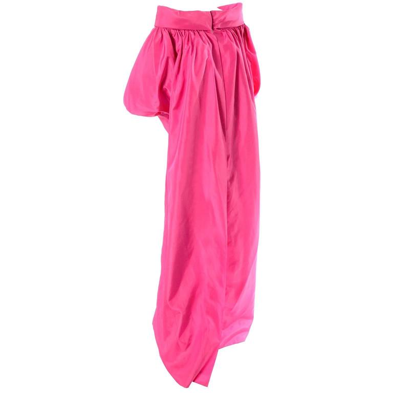 Vintage Pink Satin Evening Coat Dramatic Statement Sleeves Medium