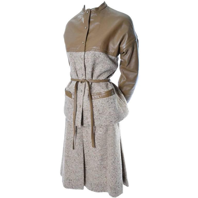 Bonnie Cashin Vintage Tweed Leather Skirt Jacket Suit 8
