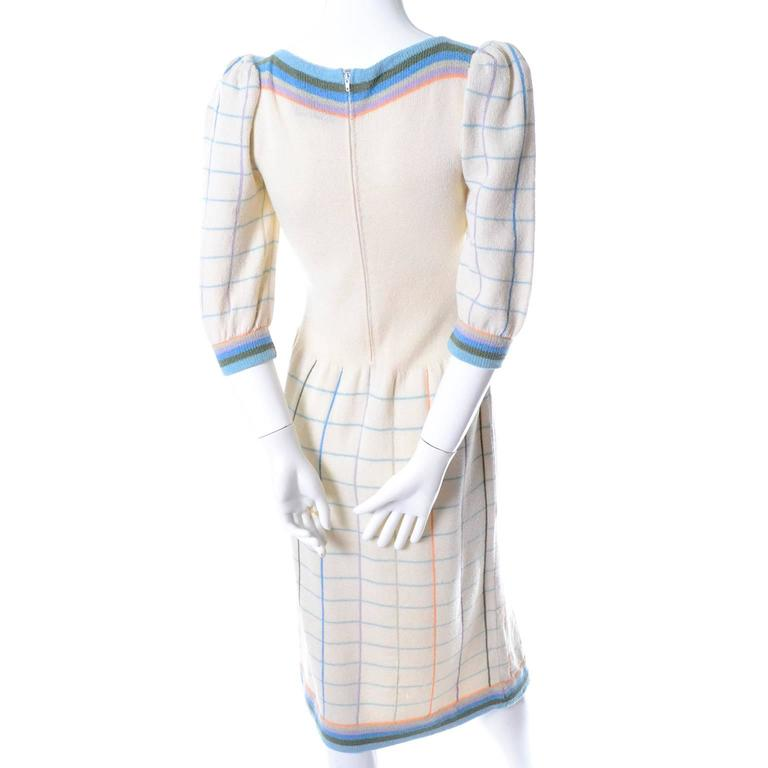 Adolfo I Magnin Vintage Dress 1970s Winter White Pastel Plaid Wool Rayon Knit 3