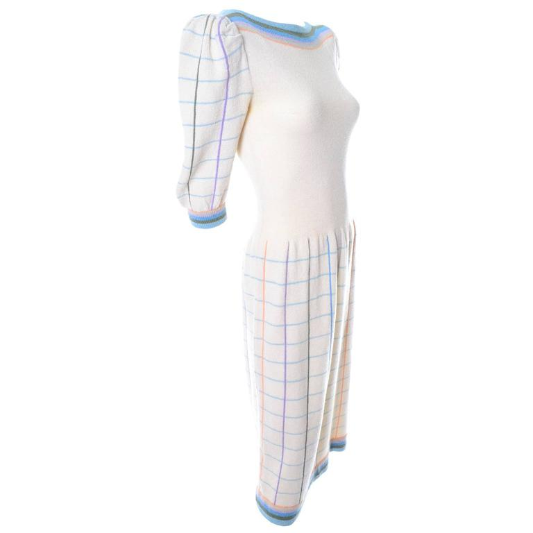 Adolfo I Magnin Vintage Dress 1970s Winter White Pastel Plaid Wool Rayon Knit 1