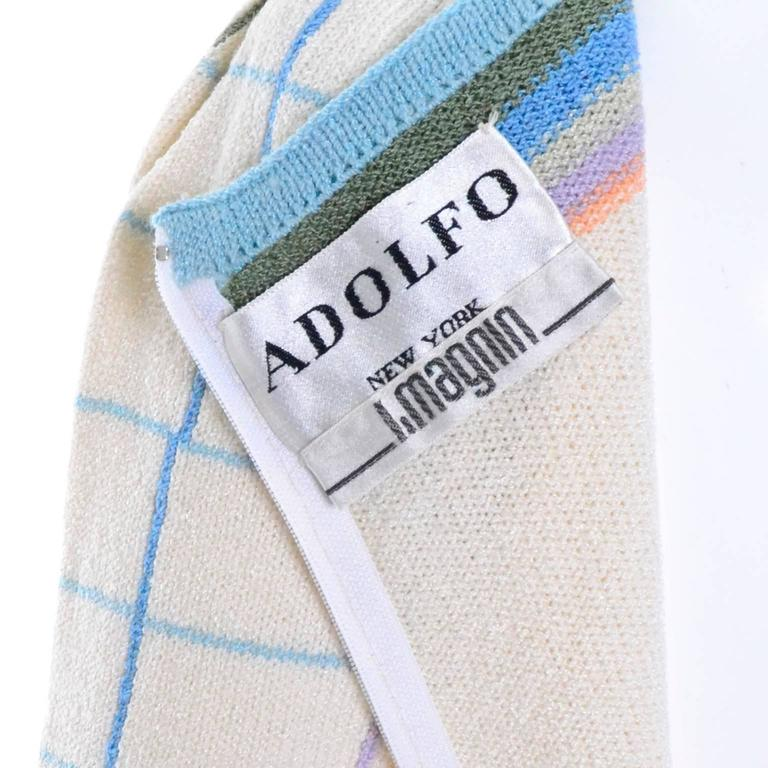 Women's Adolfo I Magnin Vintage Dress 1970s Winter White Pastel Plaid Wool Rayon Knit For Sale