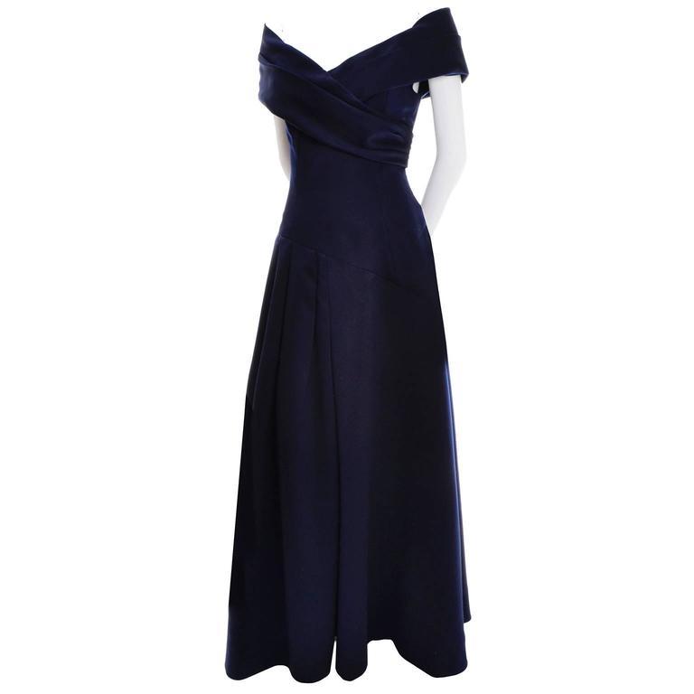 Navy Blue Victor Costa Evening Gown Vintage Dress Off Shoulder 6 at ...