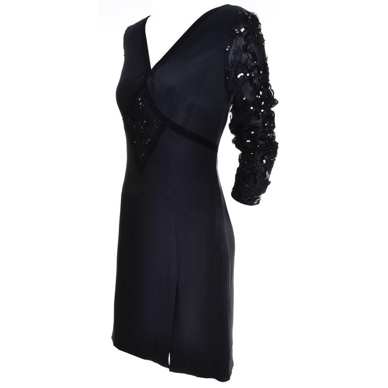 Escada Couture Vintage Black Silk Dress With Velvet Trim And Sequins