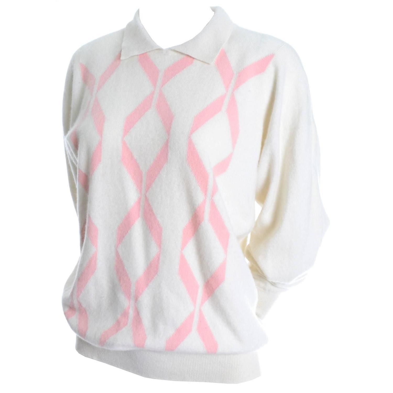 Winter White Pringle Scotland Vintage Cashmere Sweater Pink Ribbon ...