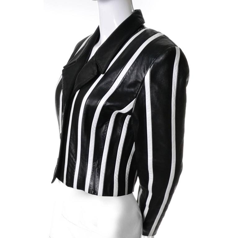 Michael Hoban North Beach Leather Vintage Cropped Striped Black White Jacket  2