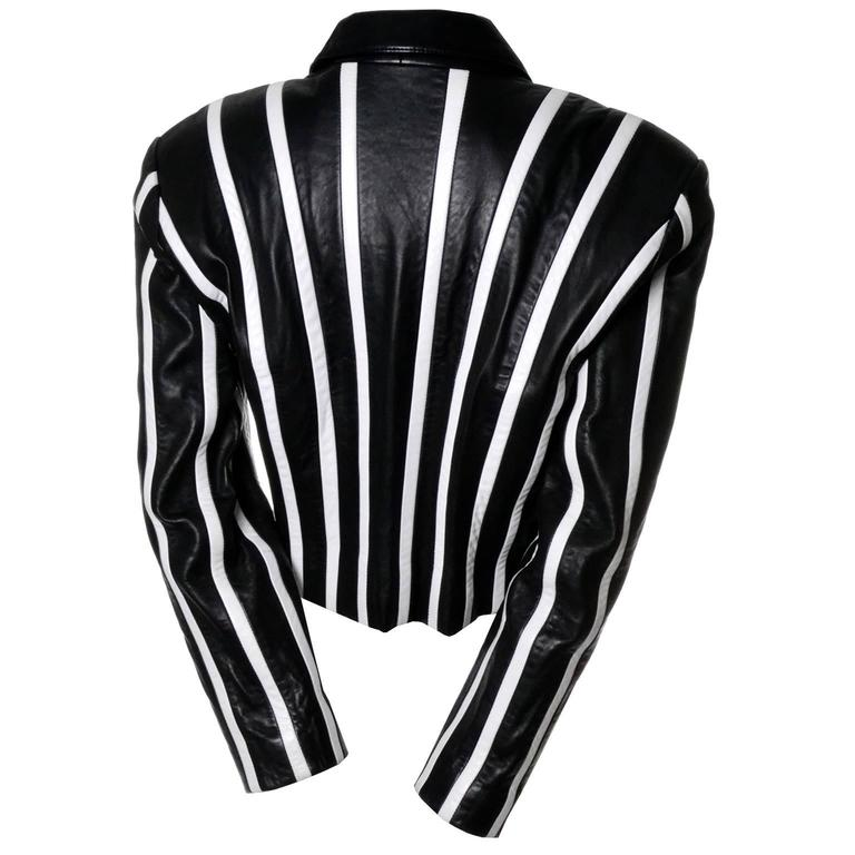 Michael Hoban North Beach Leather Vintage Cropped Striped Black White Jacket  3